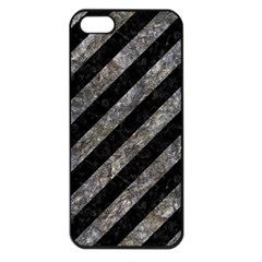 Stripes3 Black Marble & Gray Stone Apple Iphone 5 Seamless Case (black)