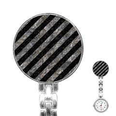 Stripes3 Black Marble & Gray Stone Stainless Steel Nurses Watch