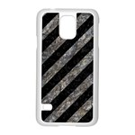 STRIPES3 BLACK MARBLE & GRAY STONE Samsung Galaxy S5 Case (White) Front
