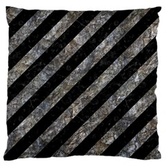 Stripes3 Black Marble & Gray Stone Large Flano Cushion Case (two Sides)