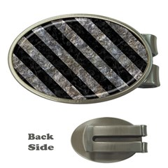 Stripes3 Black Marble & Gray Stone (r) Money Clips (oval)