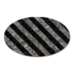 Stripes3 Black Marble & Gray Stone (r) Oval Magnet