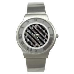 Stripes3 Black Marble & Gray Stone (r) Stainless Steel Watch