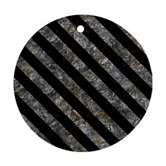 Stripes3 Black Marble & Gray Stone (r) Round Ornament (two Sides)