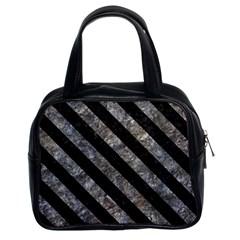 Stripes3 Black Marble & Gray Stone (r) Classic Handbags (2 Sides)