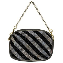 Stripes3 Black Marble & Gray Stone (r) Chain Purses (one Side)