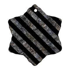 Stripes3 Black Marble & Gray Stone (r) Snowflake Ornament (two Sides)