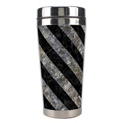 Stripes3 Black Marble & Gray Stone (r) Stainless Steel Travel Tumblers