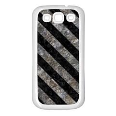 Stripes3 Black Marble & Gray Stone (r) Samsung Galaxy S3 Back Case (white)