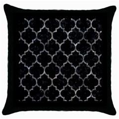Tile1 Black Marble & Gray Stone Throw Pillow Case (black)