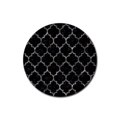 Tile1 Black Marble & Gray Stone Rubber Coaster (round)