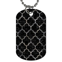 Tile1 Black Marble & Gray Stone Dog Tag (one Side)