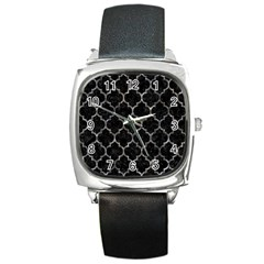 Tile1 Black Marble & Gray Stone Square Metal Watch