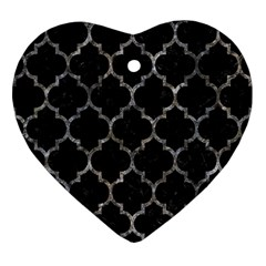 Tile1 Black Marble & Gray Stone Heart Ornament (two Sides)