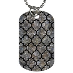 Tile1 Black Marble & Gray Stone (r) Dog Tag (one Side)