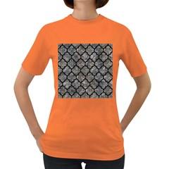 Tile1 Black Marble & Gray Stone (r) Women s Dark T Shirt