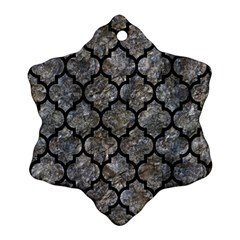 Tile1 Black Marble & Gray Stone (r) Snowflake Ornament (two Sides)