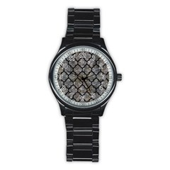 Tile1 Black Marble & Gray Stone (r) Stainless Steel Round Watch