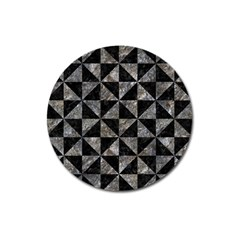 Triangle1 Black Marble & Gray Stone Magnet 3  (round)
