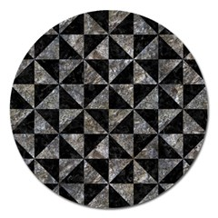 Triangle1 Black Marble & Gray Stone Magnet 5  (round)