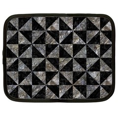 Triangle1 Black Marble & Gray Stone Netbook Case (large)
