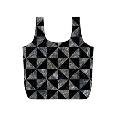 Triangle1 Black Marble & Gray Stone Full Print Recycle Bags (s)