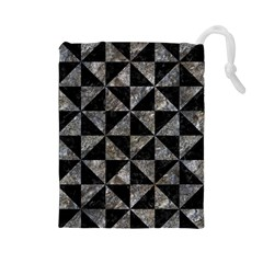 Triangle1 Black Marble & Gray Stone Drawstring Pouches (large)