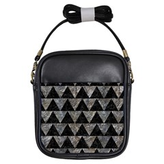 Triangle2 Black Marble & Gray Stone Girls Sling Bags