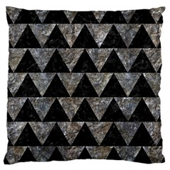 Triangle2 Black Marble & Gray Stone Large Cushion Case (one Side)
