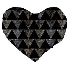 Triangle2 Black Marble & Gray Stone Large 19  Premium Heart Shape Cushions