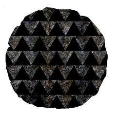 Triangle2 Black Marble & Gray Stone Large 18  Premium Flano Round Cushions