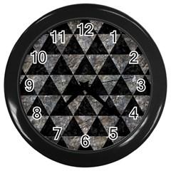 Triangle3 Black Marble & Gray Stone Wall Clocks (black)