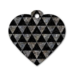 Triangle3 Black Marble & Gray Stone Dog Tag Heart (one Side)