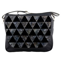 Triangle3 Black Marble & Gray Stone Messenger Bags