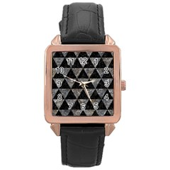 Triangle3 Black Marble & Gray Stone Rose Gold Leather Watch