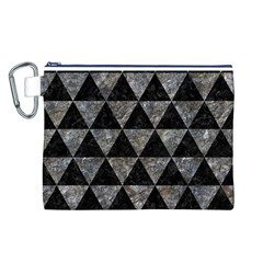 Triangle3 Black Marble & Gray Stone Canvas Cosmetic Bag (l)