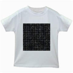 Woven1 Black Marble & Gray Stone Kids White T Shirts