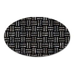 Woven1 Black Marble & Gray Stone Oval Magnet