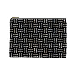 Woven1 Black Marble & Gray Stone Cosmetic Bag (large)