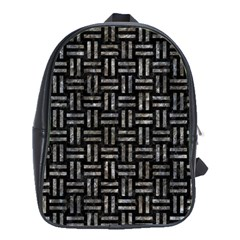 Woven1 Black Marble & Gray Stone School Bag (large)