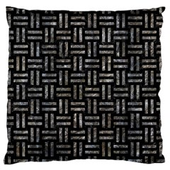 Woven1 Black Marble & Gray Stone Large Cushion Case (one Side)