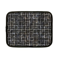 Woven1 Black Marble & Gray Stone (r) Netbook Case (small)