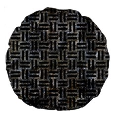 Woven1 Black Marble & Gray Stone (r) Large 18  Premium Round Cushions