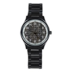 Woven1 Black Marble & Gray Stone (r) Stainless Steel Round Watch