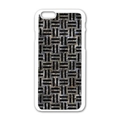 Woven1 Black Marble & Gray Stone (r) Apple Iphone 6/6s White Enamel Case
