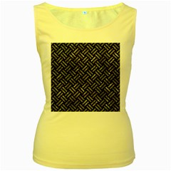 Woven2 Black Marble & Gray Stone Women s Yellow Tank Top