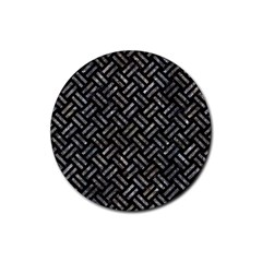 Woven2 Black Marble & Gray Stone Rubber Coaster (round)