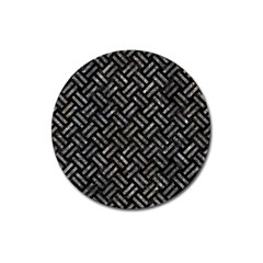 Woven2 Black Marble & Gray Stone Magnet 3  (round)