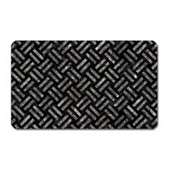 Woven2 Black Marble & Gray Stone Magnet (rectangular)