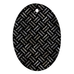 Woven2 Black Marble & Gray Stone Oval Ornament (two Sides)